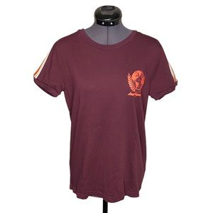 TNA Babylon Marron Racer Striped Basic T-Shirt Tee